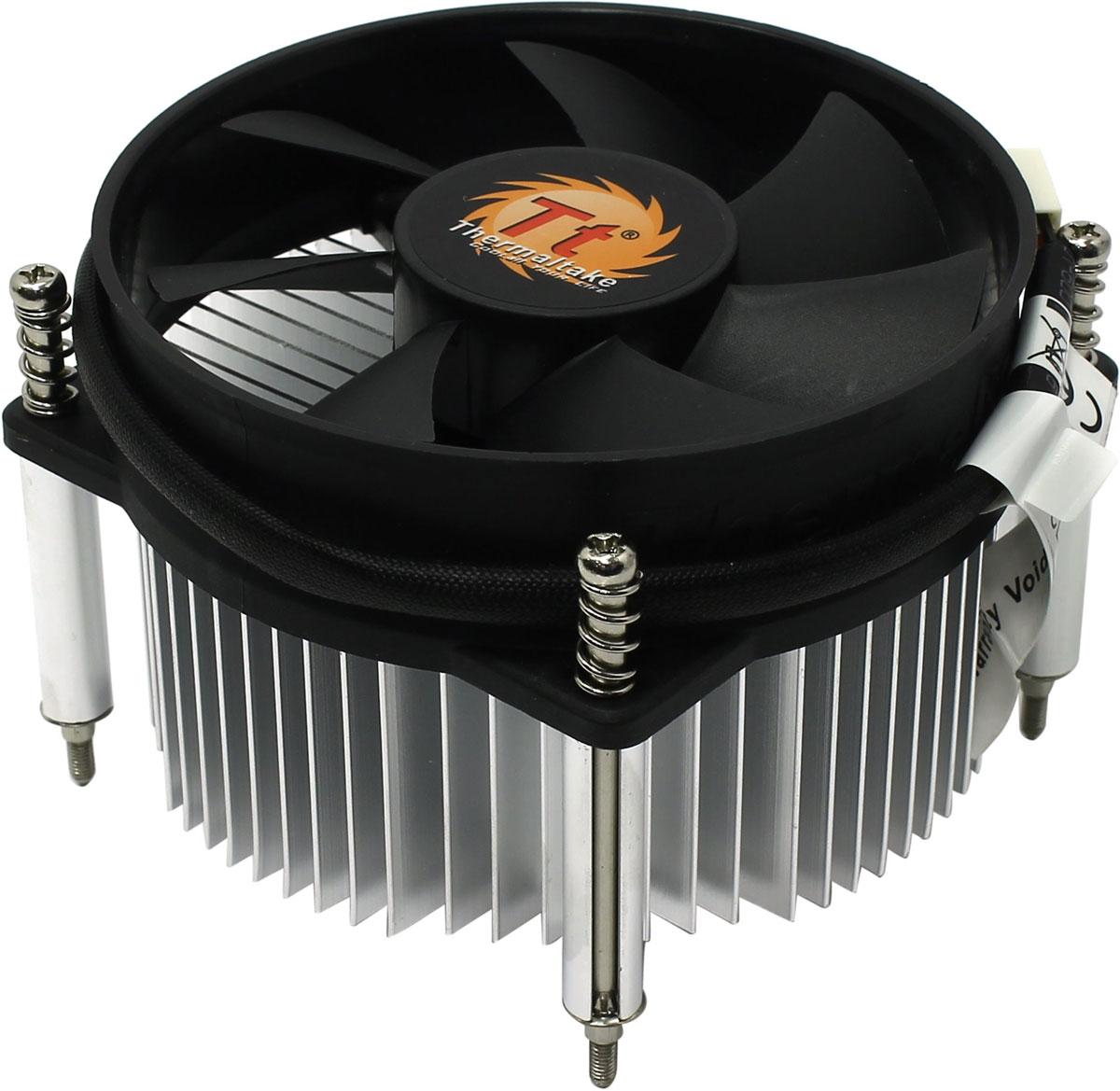 Thermaltake CLP0556 кулер компьютерныйCLP0556Кулер Thermaltake CLP0556 оснащен алюминиевым радиатором с аналогичным основанием, который является эффективным охлаждением для процессоров. Устройство обеспечивает превосходный баланс между издаваемым шумом и потоком производимого воздуха. Максимальный шумовой эффект, который может произвести система охлаждения, составляет 28 дБ.