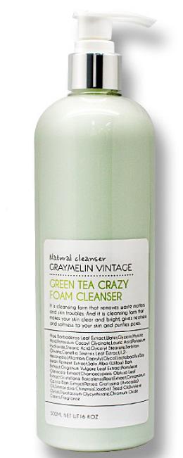 Graymelin, Очищающая пенка, Green Tea Crazy Foam Cleanser, 500 мл очищающая пенка маска skinfood green tea salt mask foam