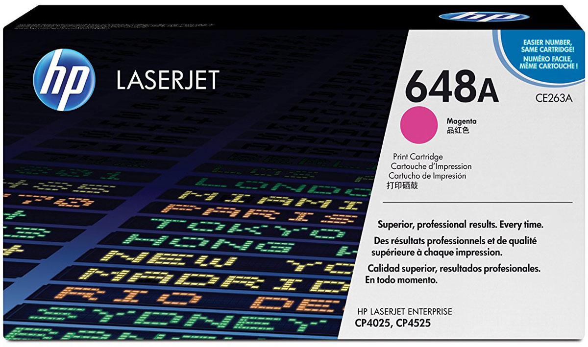 HP CE263A (648A), Magenta тонер-картридж для Color LaserJet Enterprise CP4025/CP4525CE263AТонер-картридж HP CE263A (648A) разработан специально для принтеров Color LaserJet Enterprise CP4025/CP4525, позволяет печатать деловые документы с профессиональным качеством цвета и имеет стабильную производительность. Картридж HP Color LaserJet обеспечивает высокую производительность и экономит время.Оригинальные картриджи HP с тонером ColorSphere обеспечивают четкий текст и насыщенные цвета при печати различных деловых документов. Тонер HP гарантирует неизменно высокие результаты и профессиональное качество лазерной печати на различных носителях.Картриджи для принтеров HP Color LaserJet гарантируют безотказную печать неизменно высокого качества. Благодаря своей исключительной надежности эти картриджи обеспечивают бесперебойную работу и позволяют снизить затраты на расходные материалы.Интеллектуальная система, встроенная в оригинальные картриджи HP, упрощает мониторинг расхода тонера и процедуру заказа расходных материалов.