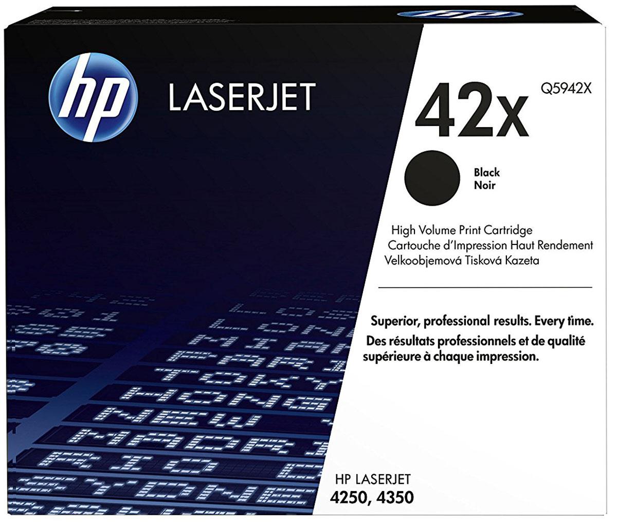 HP Q5942X (42A), Black тонер-картридж для LaserJet 4250/4350Q5942XКартриджи HP Q5942X (42A) обеспечивает бесперебойную печать. Оригинальные картриджи HP с оригинальным тонером HP гарантируют качественное выполнение задач печати в офисе. Добейтесь превосходного качества черно-белой печати для повседневных нужд. Это недорогое и производительное решение отлично подойдет для печати отчетов, счетов, таблиц и других повседневных документов.Конструкция оригинальных картриджей LaserJet и уникальная формула тонера HP гарантируют неизменно высокое качество печати на протяжении всего срока службы картриджа. Конструкция расходных материалов обеспечивает стабильные показатели ресурса при смене картриджа.