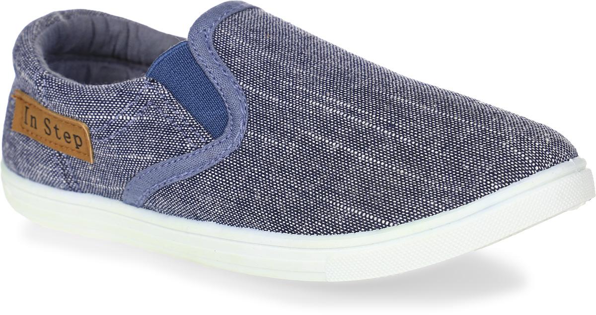 Кеды для мальчика In Step, цвет: серо-синий. A07-9. Размер 33A07-9Кеды In Step выполнены из текстиля и оформлены прострочкой. Модель дополнена эластичными резинками для удобства надевания. Внутренняя поверхность из текстиля комфортна при движении. Стелька выполнена из легкого ЭВА-материала с поверхностью из текстиля. Подошва изготовлена из полимера и дополнена рельефным рисунком.