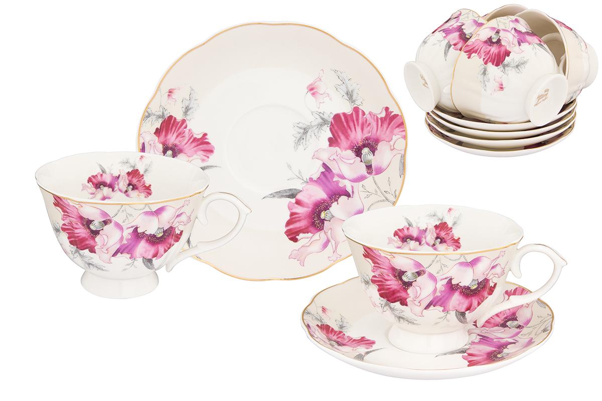 Набор чайный Elan Gallery Серебристый мак, 12 предметов740259Чайный набор Elan Gallery Серебристый мак состоит из 6 чашек, 6 блюдец, изготовленных из высококачественного фарфора. Предметы набора декорированы цветочным изображением. Чайный набор Elan Gallery Серебристый мак украсит ваш кухонный стол, а также станет замечательным подарком друзьям и близким. Изделие упаковано в подарочную коробку с атласной подложкой.Не рекомендуется применять абразивные моющие средства. Не использовать в микроволновой печи. Объем чашки: 250 мл.