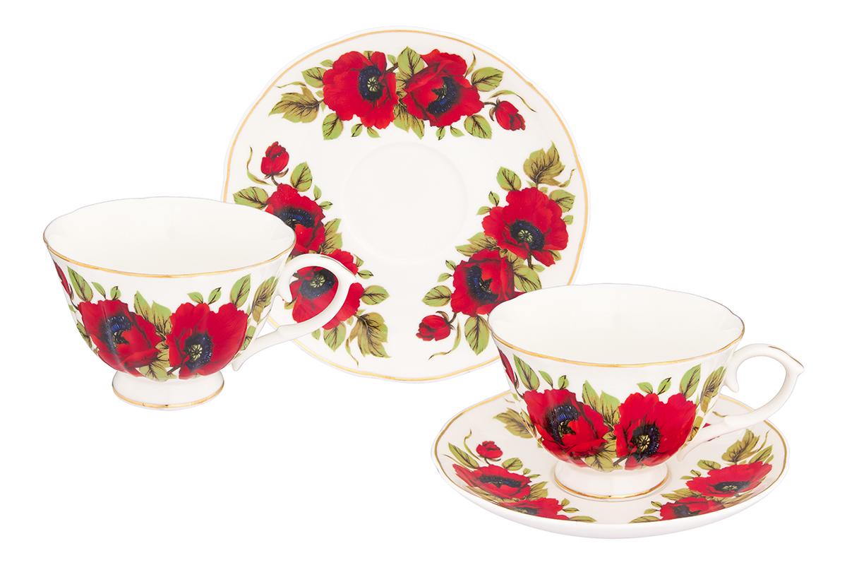 Набор чайный Elan Gallery Маки, 4 предмета740264Чайный набор Elan Gallery Маки состоит из 2 чашек, 2 блюдец, изготовленных из высококачественного фарфора. Предметы набора декорированы изображением цветов.Чайный набор Elan Gallery Маки украсит ваш кухонный стол, а также станет замечательным подарком друзьям и близким.Изделие упаковано в подарочную коробку с атласной подложкой. Не рекомендуется применять абразивные моющие средства. Не использовать в микроволновой печи.Объем чашки: 250 мл.