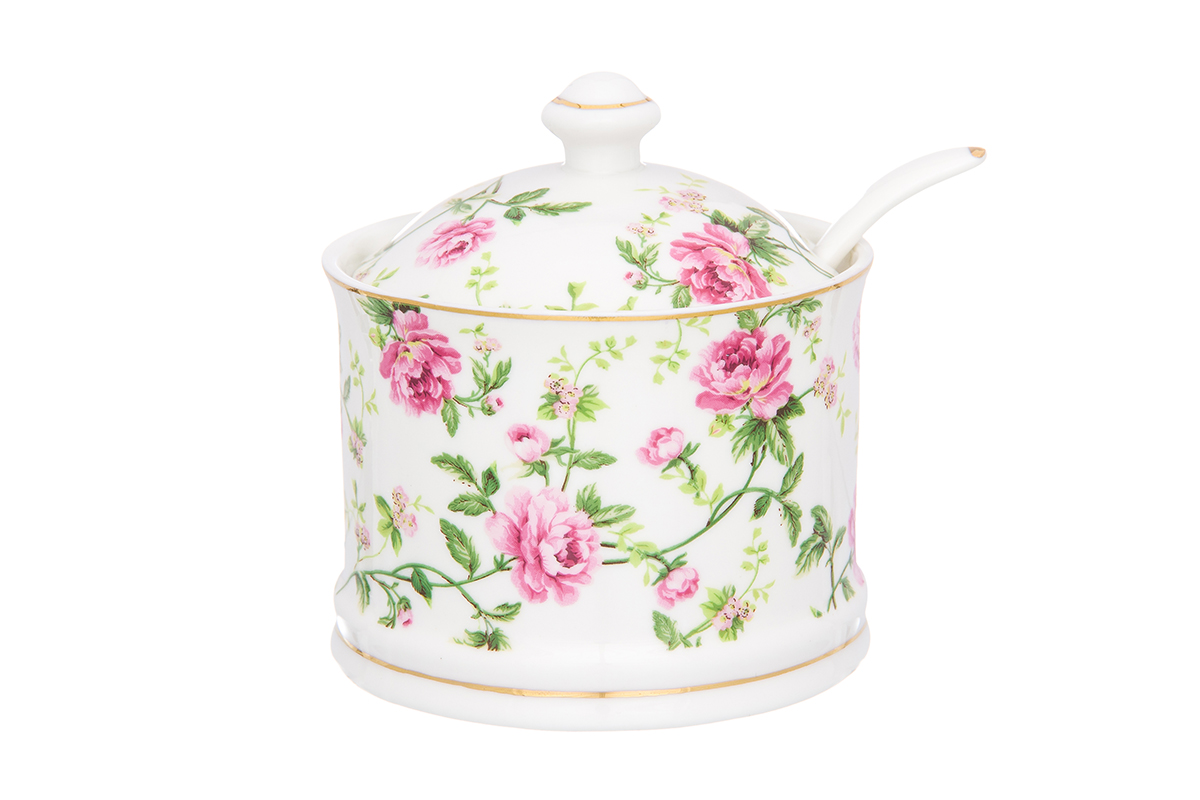 Сахарница Elan Gallery Плетистая роза, с ложкой, 320 мл740393Сахарница - необходимая вещь в каждом доме. К выбору сахарницы надо подойти внимательно. Дизайн удовлетворит любой взыскательный вкус. Соберите всю коллекцию предметов сервировки Плетистая роза и Ваши гости будут в восторге! Изделие имеет подарочную упаковку, идеальный выбор для подарка.Объем сахарницы: 320 мл.