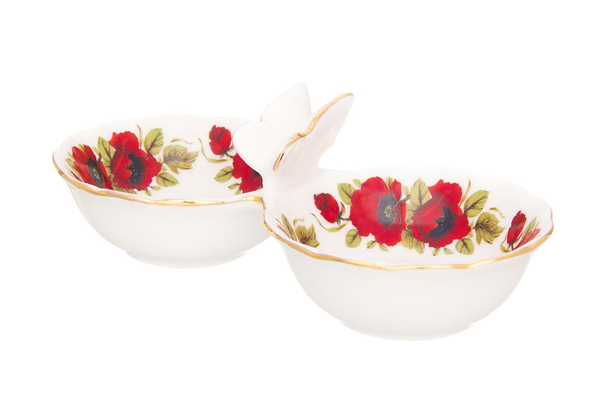 """Емкость для специй """"Маки"""" используется как солонка и как соусница. Миниатюрная, изящная украсит Вашу сервировку как на праздничном столе, так и в повседневной жизни. Соберите всю коллекцию предметов сервировки """"Маки"""" и Ваши гости будут в восторге! Изделие имеет подарочную упаковку, поэтому станет желанным подарком для Ваших близких!Размер набора: 15,5 х 7,3 х 5 см. Объем секции: 50 мл."""