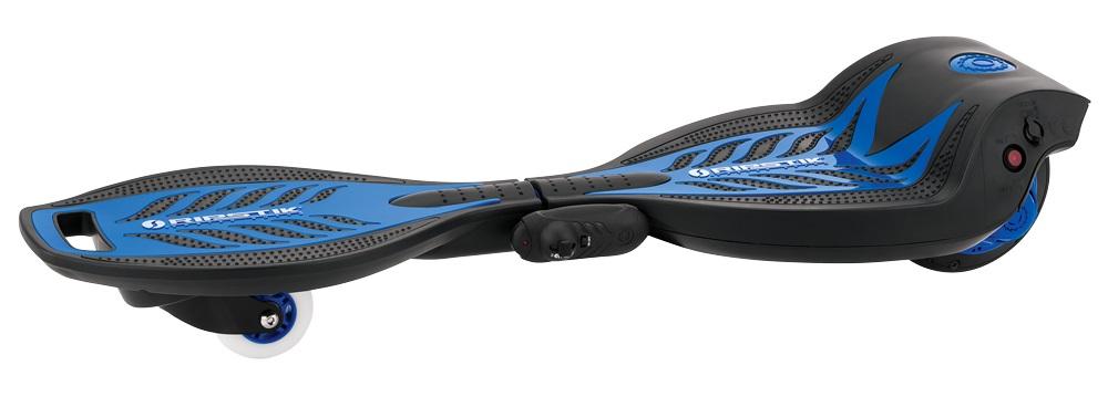 Электроскейтборд Razor RipStik Electric, цвет: синий021803Устали крутить бедрами на классическом рипстике? Встречайте - первый в мире электрический роллерсерф! Теперь можно кататься по городу, как на волнах. Электрическим рипстиком можно управлять привычным способом, а также регулировать скорость через пульт дистанционного управления, который уже идет в комплекте. Управление очень простое, справится и ребенок от 7-8 лет.>Благодаря инновационной эксклюзивной технологии с мотор-колесом и литий-ионной батареей на 22V, электрический скейт способен развивать скорость до 16 км/час, и непрерывно передвигаться до 50 минут! При этом двигаться можно не только на электрической тяге, но и благодаря инерционной, механической силе, как на классическом рипстике. Теперь можно не просто кататься, передвигаясь по городу, парку, но и делать это максимально эффектно и необычно!От 8 летВес продукта 6,94 кг.Подходит детям и подросткам ростом от 100 до 180 см.Максимальная нагрузка 65 кг.Максимальная скорость 16 км/часЗапас непрерывного хода до 50 минутНовая технология Power Core: мотор-колесо 100W, отсутствие цепи и ее натяжителяИспользуется ножной стартер для запуска двигателяПолиуретановое переднее и заднее мотор-колесоУдобное управление с пульта ДУ (технология 2,4 ГГц)Литий-ионная аккумуляторная батарея на 22V (UL 2271)Конструкция выполнена из армированного полимерного волокнаЗарядное устройство и пульт ДУ включено в комплектНе требует сервисного обслуживания и сборкиГарантия 6 месяцев