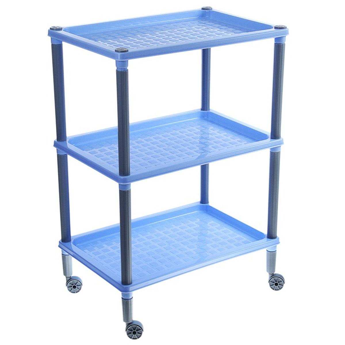 "Этажерка ""Флавия"", 3 полки, на колесиках, цвет: синий, 42 х 29 х 61 см, Бытпласт"