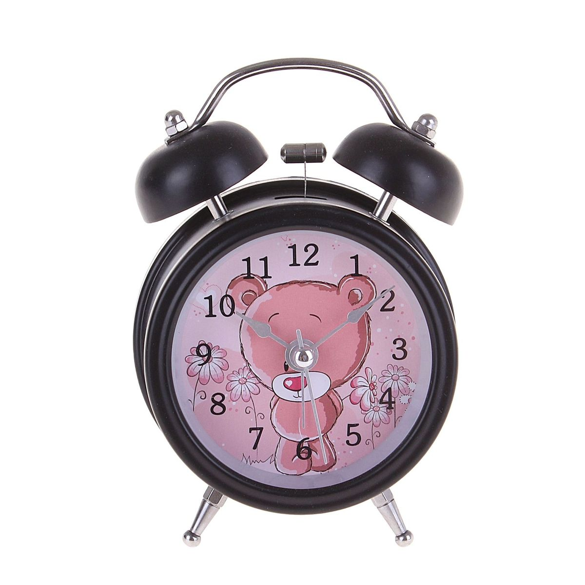 Будильник Мишка-стесняшка, цвет: черный, розовый. 127199127199Каждое утро вы боитесь проспать?Будьте абсолютно уверены в том, что с таким будильником вам точно не удастся снова уснуть! Теперь вы сможете просыпаться утром под звуки стильного классического будильника. Яркий будильник украсит вашу комнату и приведет в восхищение друга. Будильник работает от 1 батареи типа АА. На задней панели будильника расположены переключатель включения/выключения механизма и два колесика для настройки текущего времени и времени звонка будильника.