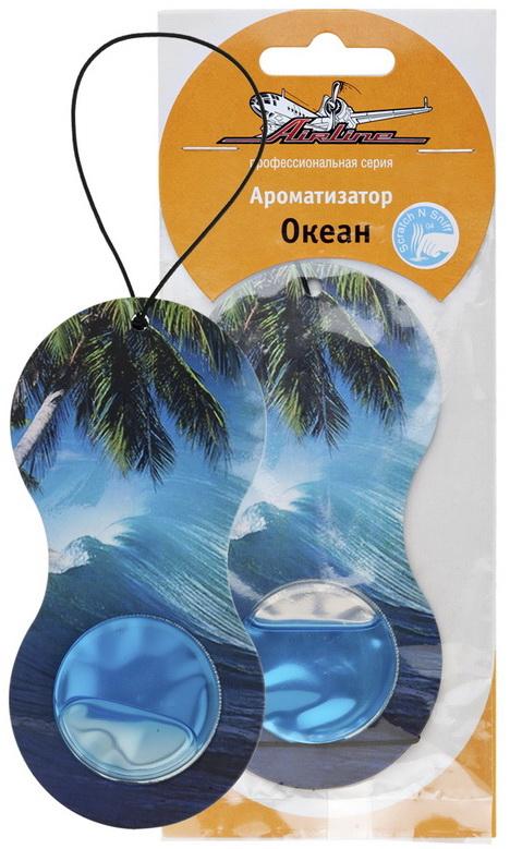 Ароматизатор автомобильный Airline Восьмерка, подвесной, океанAF-D01-OCАроматизатор модели «Восьмерка» подвесной имеет картонную основу и гелевый наполнитель в нижней части изделия. На основе ароматизатора нанесен красочный принт с изображением тропических пальм и бушующих волн. Такой принт отлично сочетается со свежим ароматом океана, который распространяет изделие.
