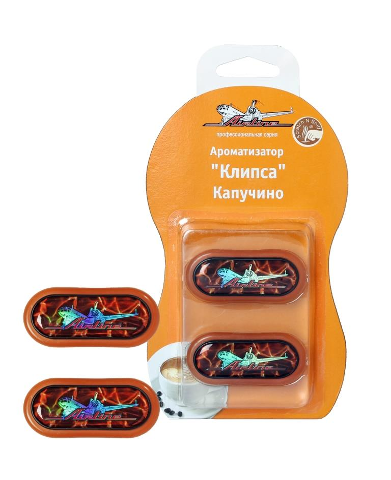 Ароматизатор автомобильный Airline Клипса, на дефлектор, капучино, 2 шт ароматизатор airline арктика лимонная мята af a02 ll