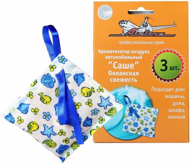Ароматизатор автомобильный Airline Саше, океанская свежесть, 3 шт насос автомобильный airline pa 400 02 400
