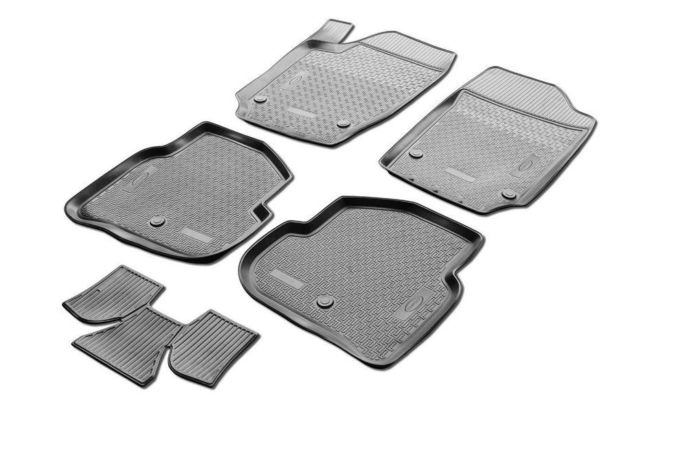 Коврики салона Rival для Ford Ecosport 2013-, c перемычкой, полиуретан11803001Прочные и долговечные коврики Rival в салон автомобиля, изготовлены из высококачественного и экологичного сырья. Коврики полностью повторяют геометрию салона вашего автомобиля.- Надежная система крепления, позволяющая закрепить коврик на штатные элементы фиксации, в результате чего отсутствует эффект скольжения по салону автомобиля.- Высокая стойкость поверхности к стиранию.- Специализированный рисунок и высокий борт, препятствующие распространению грязи и жидкости по поверхности коврика.- Перемычка задних ковриков в комплекте предотвращает загрязнение тоннеля карданного вала.- Коврики произведены из первичных материалов, в результате чего отсутствует неприятный запах в салоне автомобиля.- Высокая эластичность, можно беспрепятственно эксплуатировать при температуре от -45°C до +45°C. Уважаемые клиенты! Обращаем ваше внимание, что коврики имеют форму, соответствующую модели данного автомобиля. Фото служит для визуального восприятия товара.