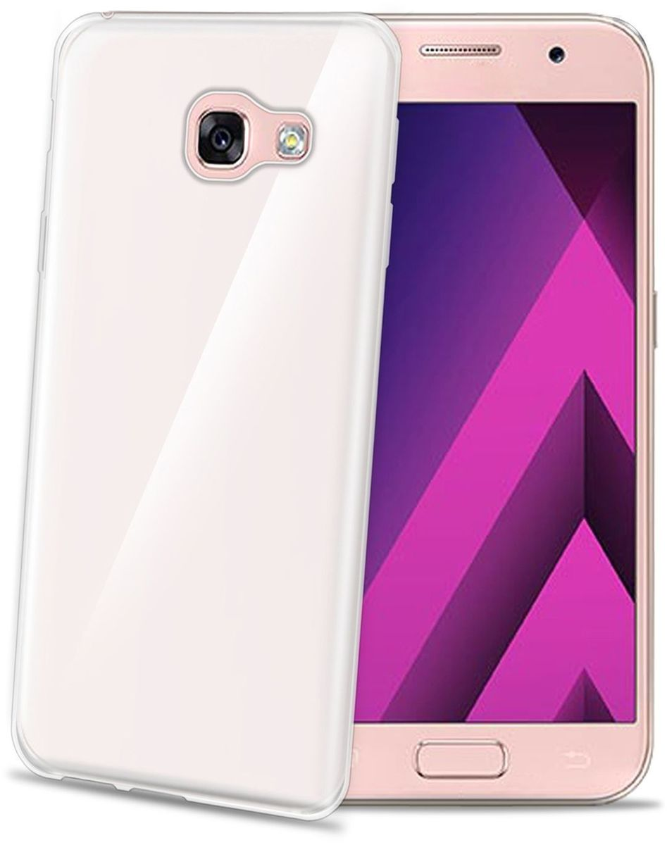 Celly Gelskin, Clear чехол для Samsung Galaxy A3 (2017) чехол для samsung galaxy j1 2016 sm j120f ds celly gelskin прозрачный