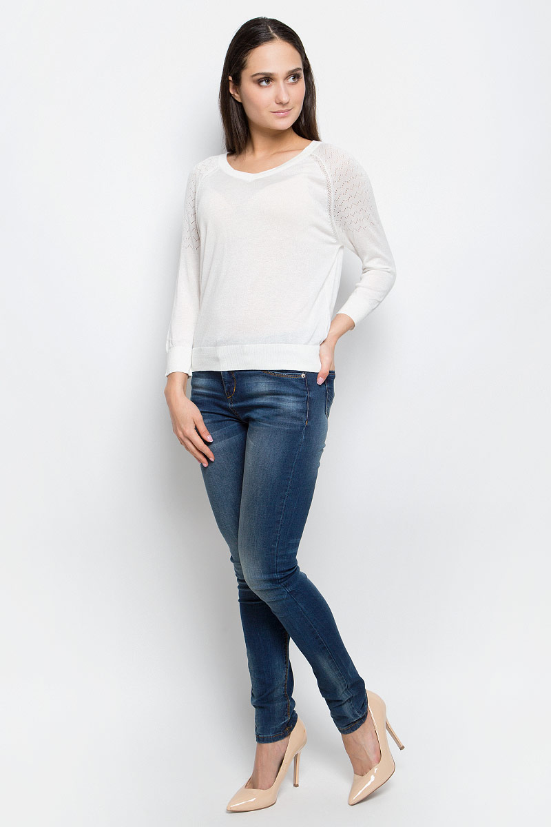 Джемпер женский Baon, цвет: белый. B137007. Размер XL (50) джемпер женский baon цвет серый меланж b166521 размер xl 50