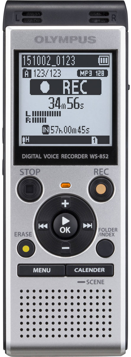 Olympus WS-852, Silver диктофонV415121SE000Независимо от ваших потребностей, в формальной или неформальной обстановке, диктофон Olympus WS-852 сочетает в себе высокую производительность, стерео запись со смарт-функциональностью. Это не только делает его приятным, но и простым в использовании в любой ситуации.Стерео микрофон с шумоподавлением и радиусом охвата 90° позволит вам запечатлеть мельчайшие детали встречи. Независимо от того, где находится спикер и в каком направлении расположен микрофон.Для того, чтобы сделать прослушивание записей более комфортным, режим Intelligent Auto Mode автоматически настраивает уровень звука от разных источников, делая их максимально близкими по громкости. Когда спикер говорит очень громко, диктофон уменьшает уровень входного сигнала, а для мягких голосов рекордер увеличивает уровень входного сигнала - всегда обеспечивая один уровень громкости.С двумя различными режимами отображения, вы можете использовать диктофон, даже если вы новичок. Простой режим отображает только основную информацию крупным шрифтом и ограничивает варианты меню для часто используемых функций. Для продвинутых пользователей, полная функциональность пунктов меню доступно в обычном режиме.Сохранять данные легко и удобно с помощью встроенного USB-разъема. Вставьте USB в ПК или Mac и передайте голосовую запись с устройства на жесткий диск компьютера. Вы также можете использовать его, как запоминающее устройство USB для обмена документами.Максимальный объем арты памяти: 32 ГБЗапись индексов: до 99 в файлЧастота дискретизации MP3: 44,1 кГц, 8- 128 Кбит/сПрограммы записи: Собрания, Конференция, Диктовка, Распознавание речи, Запись телефонных разговоров, ДубликатИнформация о времени и датеЗаписей в каталоге: 200Поиск по календарюБлокировка файлаМаксимальная мощность на выходе: 250 мВт