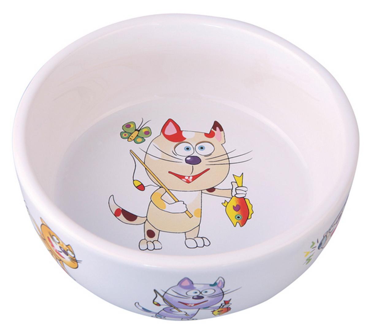 Миска для кошек Dezzie Улов, 300 мл5637006Керамическая миска привлекает внимание покупателей блестящей гладкой поверхностью и интересным рисунком.