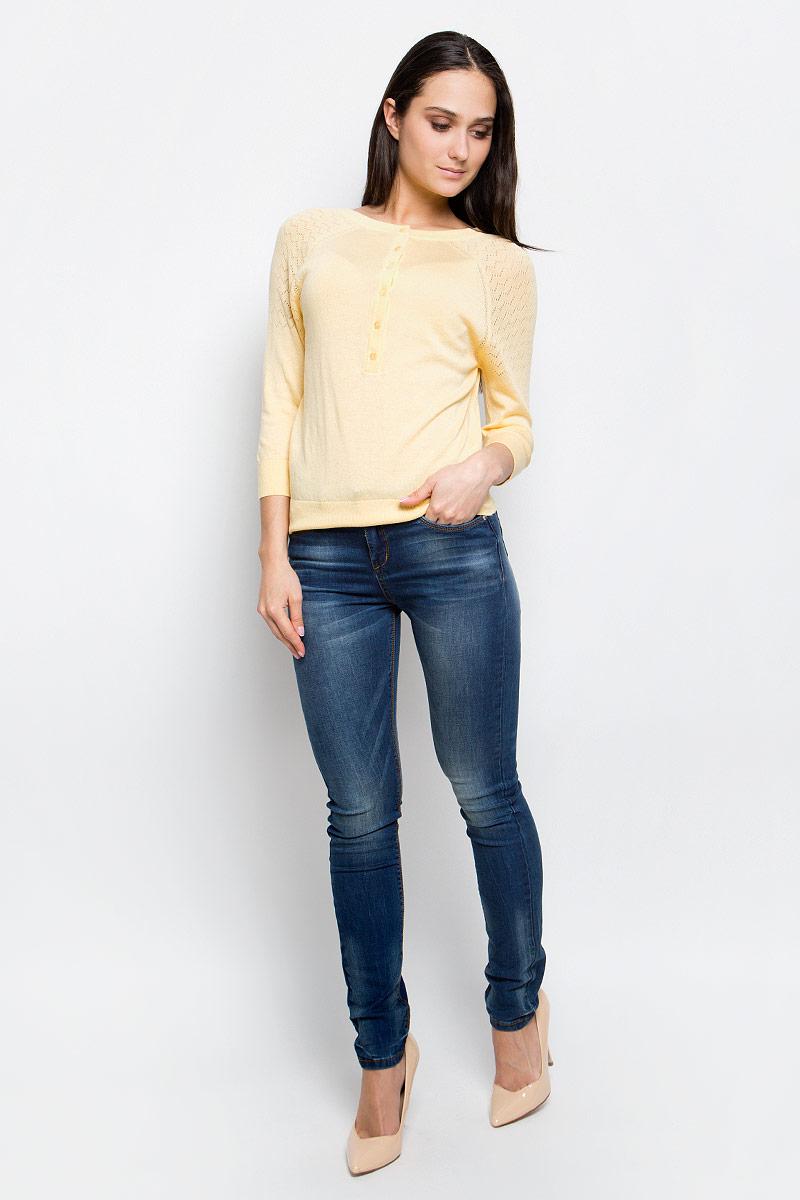 Джемпер женский Baon, цвет: бледно-желтый. B137007. Размер XL (50) кардиган женский baon цвет черный b147505 black размер xl 50