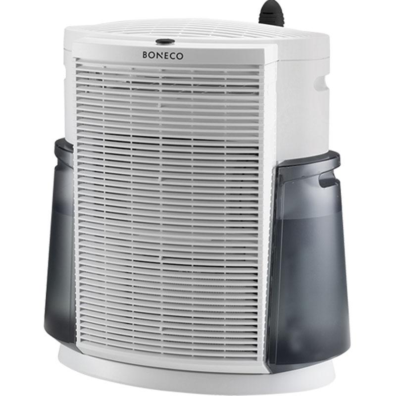 Boneco 2071 климатический комплексНС-1076945Технологичный и современный дизайн комплекса, напоминающий небоскреб, символизирует его предназначение. Boneco 2071 незаменим в крупных городах и мегаполисах, где воздух предельно загрязнен пылью, смогом и выхлопными газами. Климатический комплекс особенно необходим людям, страдающим от аллергии: его мощный вентилятор пропускает через фильтры поток воздуха, в кратчайшие сроки обеспечивая безопасный и комфортный микроклимат для работы и отдыха. Словно огромный горный ледник, он спокойно и невозмутимо превращает смог мегаполиса в чистый альпийский воздух совершенно бесшумно.Воздух проходит через HEPA-фильтр, на котором оседают частицы размером до 0,1 мкм, часто являющиеся причиной возникновения аллергий. Угольный фильтр поглощает вредные газы и неприятные запахи. Далее воздух увлажняется с помощью специального увлажняющего фильтра. Таким образом, в помещение возвращается увлажненный и очищенный от аллергенов и бактерий воздух.Помимо основных функций — очистки и увлажнения воздуха, в климатическом комплексе предусмотрена возможность ароматизации помещения. Ароматерапия признана многими врачами в качестве эффективного способа улучшения самочувствия и настроения.Два компактных бака для воды общей емкостью 8,5 л. с удобными ручками для залива и переноски, позволяют работать долгое время без дозалива воды.