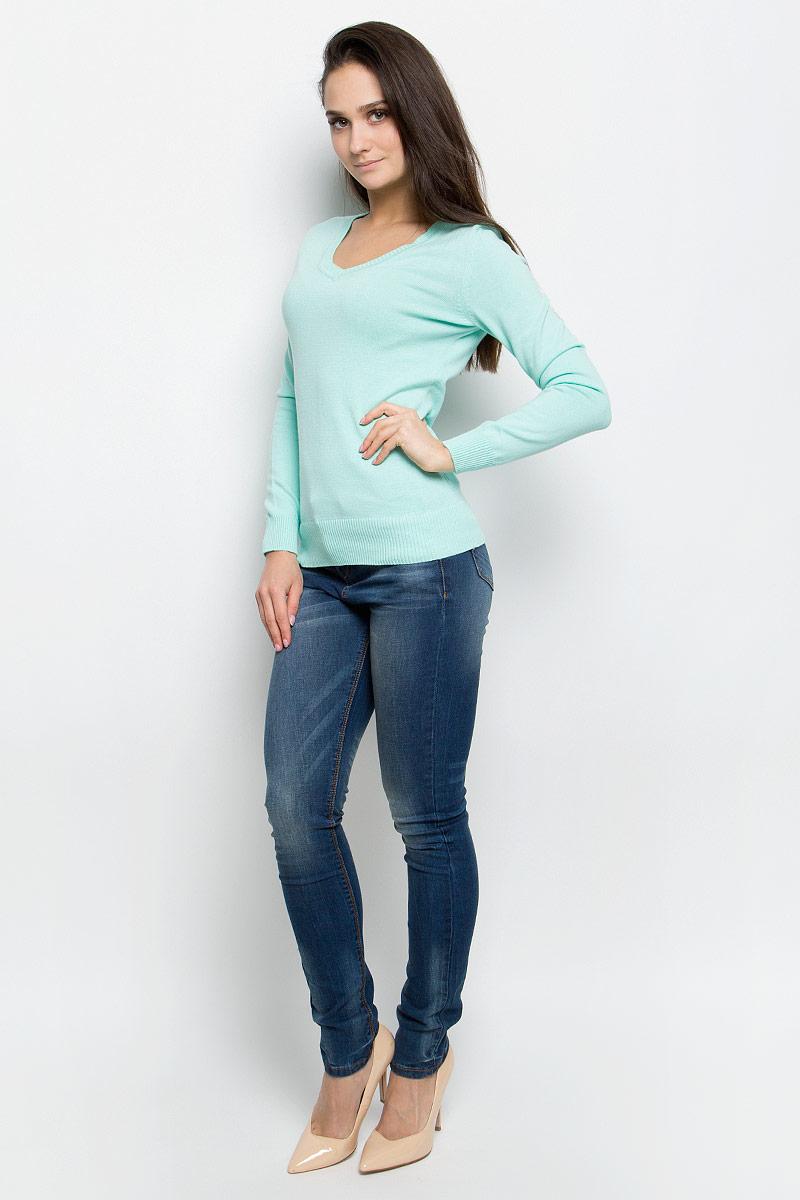 Пуловер женский Baon, цвет: зеленый. B137201. Размер XL (50)B137201_Ice GreenЭлегантный женский пуловер Baon выполнен из натурального хлопка. Модель с V-образным вырезом горловины и длинными рукавами. Низ и манжеты изделия выполнены мелкой резинкой.