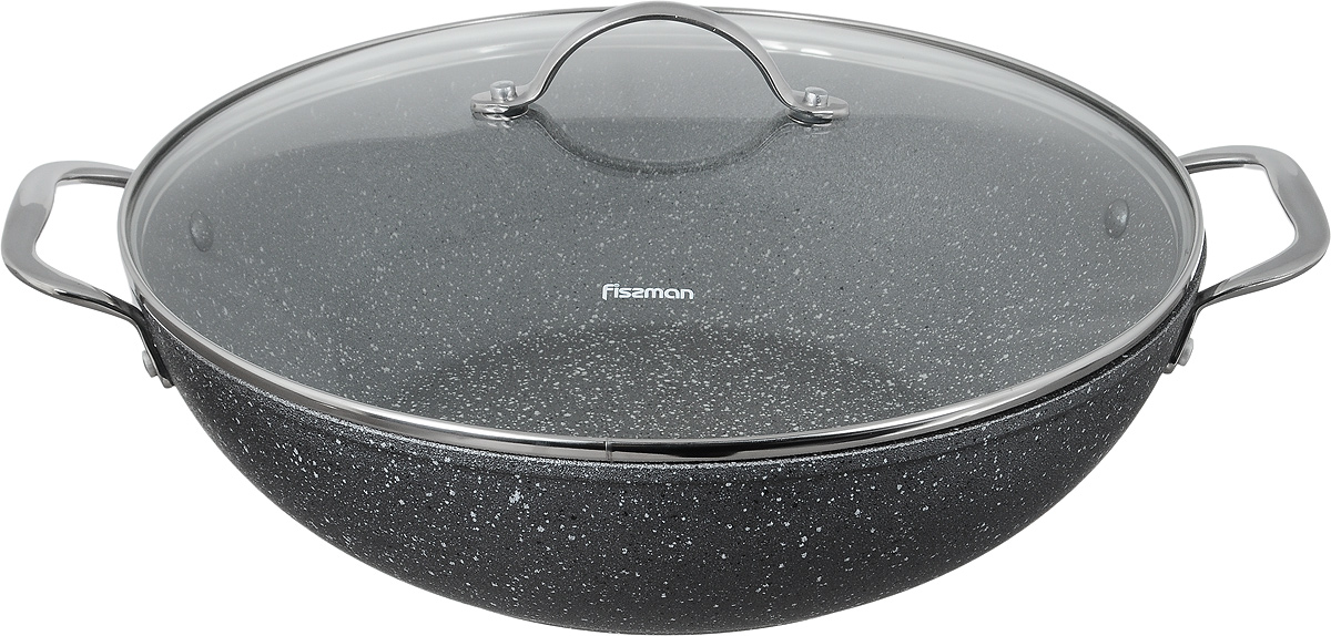 """Вок Fissman """"Moon Stone"""" изготовлен из алюминия счетырехслойным антипригарным покрытием Platinum. Такоепокрытие стойкое к появлению царапин и истиранию.Толстое дно обеспечивает равномерное распределение тепла. Вок оснащен удобными металлическими ручками. Вок имеет необычную коническую форму. Он универсален: в нем удобно жарить, тушить, коптить, готовитьна пару. Основной принцип приготовления еды - быстрая жарка с непрерывным помешиванием. Готовые блюда содержат минимум жира - впитыванию масла мешает постоянное перемещение кусочков. За счет высоких стенок вока кусочки во время интенсивного перемешивания не высыпаются. Вок имеет стеклянную крышку с металлической ручкой и отверстие для выхода пара.Идеальные рецепты для вока - рагу, жаркое, плов, мясо с гарнирами из лапши и овощей, блюда-фри. Подходит для газовых, электрических, стеклокерамических, индукционных плит. Можно мыть в посудомоечной машине. Высота стенки: 9 см. Длина ручек: 4,5 см. Диаметр (по верхнему краю): 32 см."""