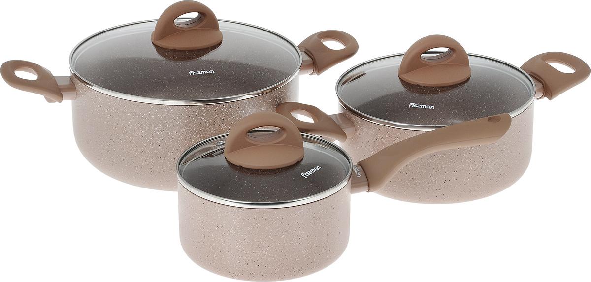 Набор посуды Fissman Latte, с антипригарным покрытием, 6 предметовAL-4952.6Набор посуды Fissman Latte состоит из двух кастрюль с крышками и ковша с крышкой. Изделия выполнены из высококачественного алюминия с антипригарным покрытием TouchStone. Оптимальное соотношение толщины дна и стенок обеспечивает равномерное распределение тепла и делает посуду устойчивой к деформации. Высокопрочные огнестойкие ручки удобной формы обеспечивают удобство в процессе эксплуатации. Крышки, выполненные из стекла, оснащены ручками и отверстием для выхода пара. Можно готовить на газовых, электрических, стеклокерамических и индукционных плитах. Можно мыть в посудомоейчной машине.Диаметр кастрюль (по верхнему краю): 20 см; 24 см.Объем кастрюль: 2,8 л; 4,9 л.Высота стенок кастрюль: 9 см; 11 см.Диаметр дна кастрюль: 16 см; 17,5 см.Диаметр ковша (по верхнему краю): 16 см.Объем ковша: 1,6 л.Высота стенки ковша: 8 см.Длина ручки ковша: 16,5 см.Диаметр дна ковша: 14 см.