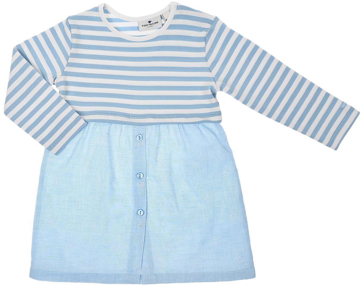 Платье для девочки Tom Tailor, цвет: белый, голубой. 5019602.00.21_6837. Размер 685019602.00.21_6837Платье для девочки Tom Tailor выполнено из натурального хлопка.Модель средней длины с длинными рукавами и круглым вырезом горловины имеет пришивную юбку, которая застегивается на пуговицы спереди. На плече расположены две застежки-кнопки. Верх платья оформлен принтом в полоску, а юбка украшена изображением звезд.