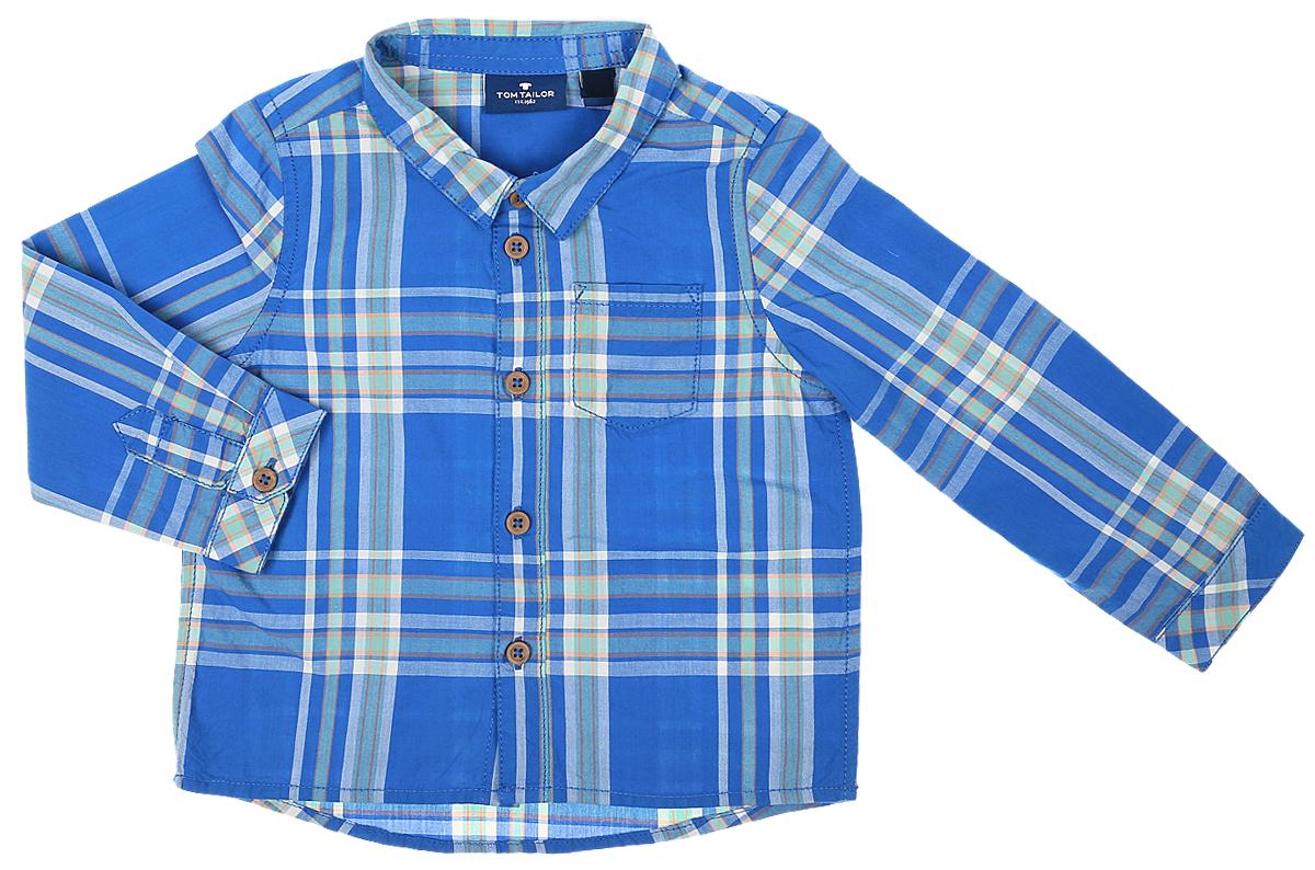 Рубашка для мальчика Tom Tailor, цвет: синий. 2032974.00.22_6834. Размер 802032974.00.22_6834Рубашка для мальчика Tom Tailor выполнена из натурального хлопка. Рубашкас длинными рукавами и отложным воротником застегивается на пуговицы спереди. Манжеты рукавов также застегиваются на пуговицы. Рубашка оформлена принтом в клетку. На груди расположен накладной карман.
