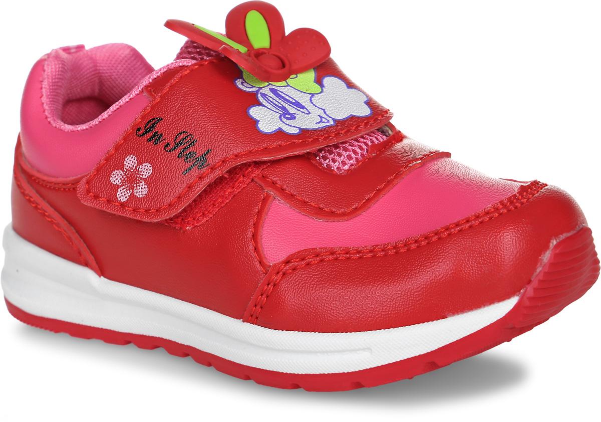 Кроссовки для девочки In Step, цвет: красный, розовый. B020-3. Размер 22B020-3Кроссовки In Step выполнены из искусственной кожи и оформлены прострочкой. На ноге модель фиксируется с помощью ремешка с застежкой-липучкой, оформленной оригинальным принтом и декоративной нашивкой. Ярлычок на заднике облегчит надевание модели. Внутренняя поверхность из сетчатого текстиля комфортна при движении. Стелька выполнена из ЭВА-материала с поверхностью из текстиля. Подошва изготовлена из полимера и дополнена рельефным рисунком.