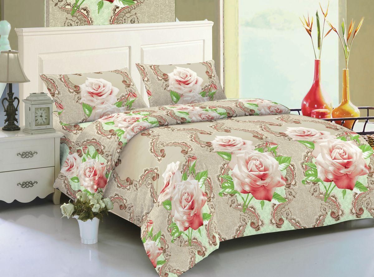 Комплект белья Amore Mio Gianna, 2-спальный, наволочки 70x70, цвет: бежевый, розовый, зеленый82628Комплект постельного белья Amore Mio изготовлен из мако-сатина. Нано-инновации позволили открыть новую ткань, которая сочетает в себе широкий спектр отличных потребительских характеристик и невысокой стоимости. Легкая, плотная, мягкая ткань, приятна и обладает эффектом персиковой кожуры. Отлично стирается, гладится, быстро сохнет. Дисперсное крашение великолепно передает качество рисунков и необычайно устойчиво к истиранию.Комплект состоит из пододеяльника, простыни и двух наволочек.
