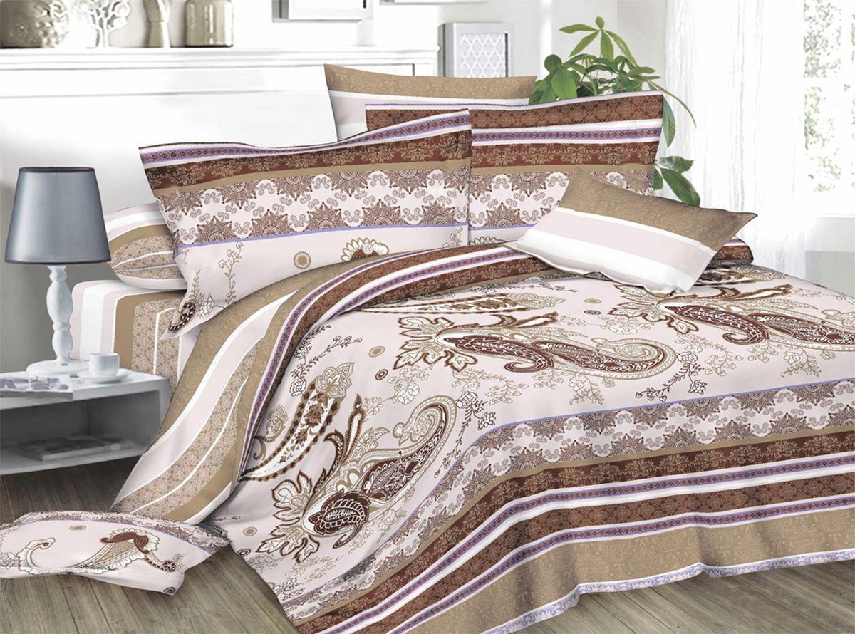 Комплект белья Amore Mio Natali, 2-спальный, наволочки 70x70, цвет: молочный, бежевый, коричневый82929Комплект постельного белья Amore Mio является экологически безопасным для всей семьи, так как выполнен из сатина (100% хлопок). Постельное белье оформлено оригинальным рисунком и имеет изысканный внешний вид. Сатин - это ткань сатинового (атласного) переплетения нитей. Имеет гладкую, шелковистую лицевую поверхность, на которой преобладают уточные нити (уток - горизонтально расположенные в тканом полотне нити). Сатин изготавливается из крученой хлопковой нити двойного плетения. Он чрезвычайно приятен на ощупь, не электризуется и не скользит по кровати. Сатин прекрасно сохраняет форму и не мнется, отлично пропускает воздух, что позволяет телу дышать и дарит здоровый и комфортный сон.Комплект состоит из пододеяльника, простыни и двух наволочек.