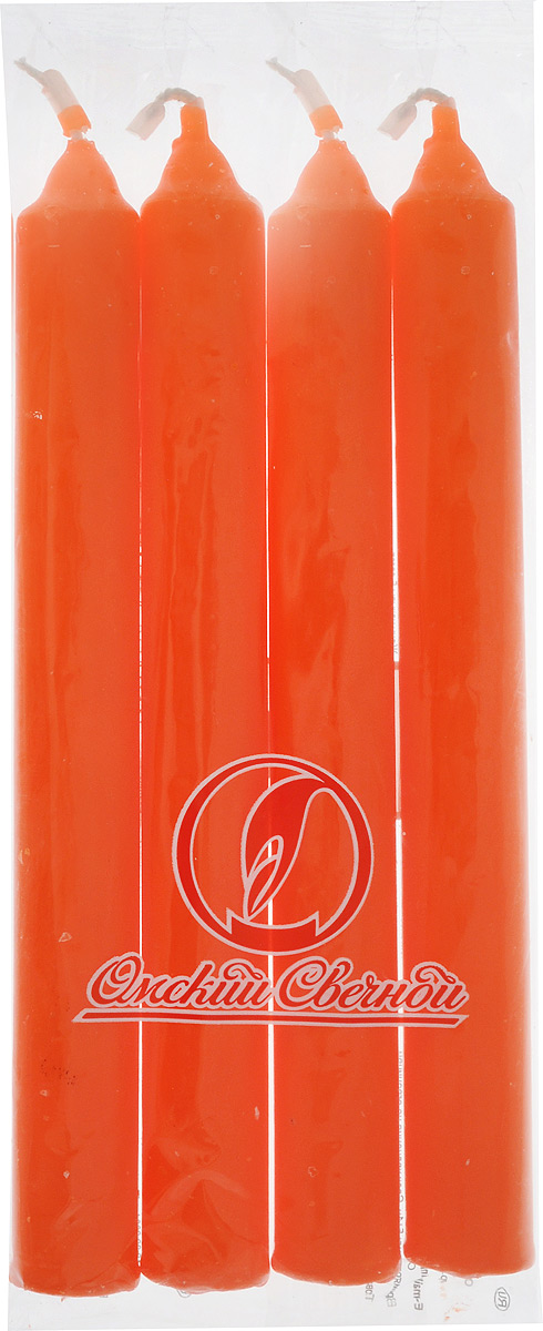 Набор свечей Омский cвечной завод, цвет: оранжевый, высота 17,5 см, 4 шт330081/001625Набор Омский cвечной завод состоит из четырех свечей, изготовленных из парафина и хлопчатобумажной нити. Такие свечи создадут атмосферу таинственности и загадочности и наполнят ваш дом волшебством и ощущением праздника. Хороший сувенир для друзей и близких.Примерное время горения: 5 часов. Высота: 17,5 см. Диаметр: 2 см.