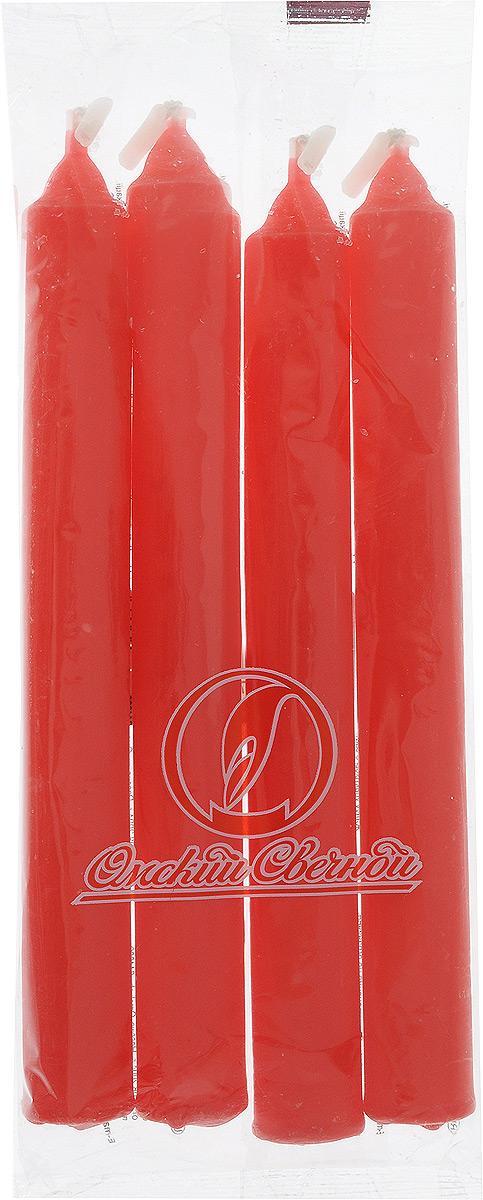 Набор свечей Омский cвечной завод, цвет: красный, высота 17,5 см, 4 шт330082/001618Набор Омский cвечной завод состоит из четырех свечей, изготовленных из парафина и хлопчатобумажной нити. Такие свечи создадут атмосферу таинственности и загадочности и наполнят ваш дом волшебством и ощущением праздника. Хороший сувенир для друзей и близких.Примерное время горения: 5 часов. Высота: 17,5 см. Диаметр: 2 см.