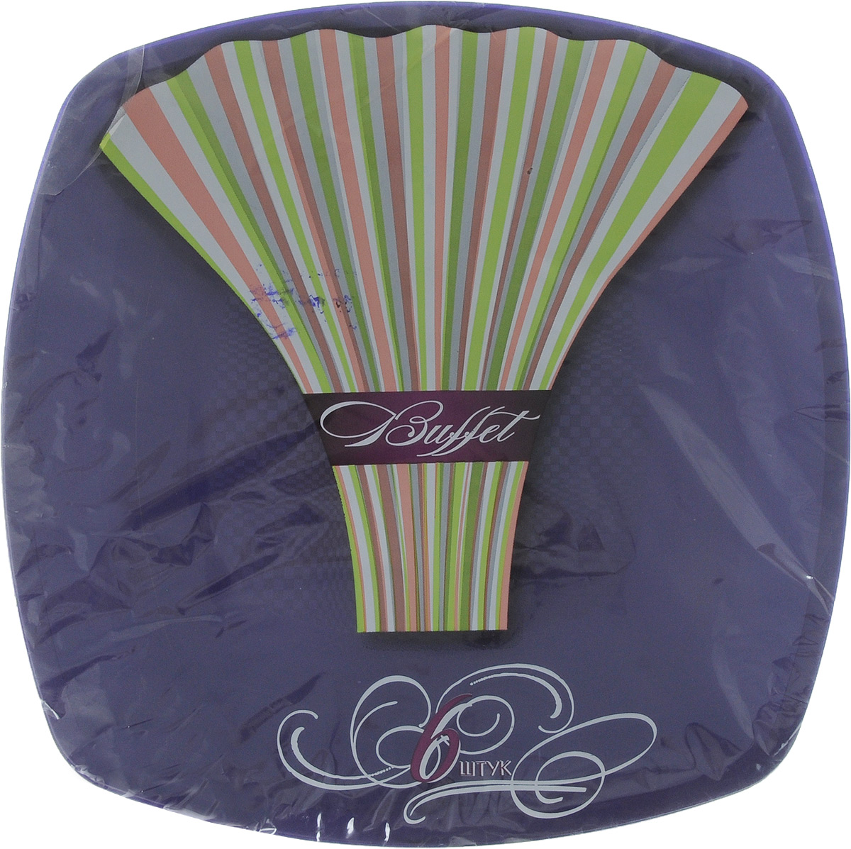 Набор одноразовых тарелок Buffet, цвет: фиолетовый, 23 х 23 см, 6 шт набор одноразовых стаканов buffet biсolor цвет оранжевый желтый 200 мл 6 шт