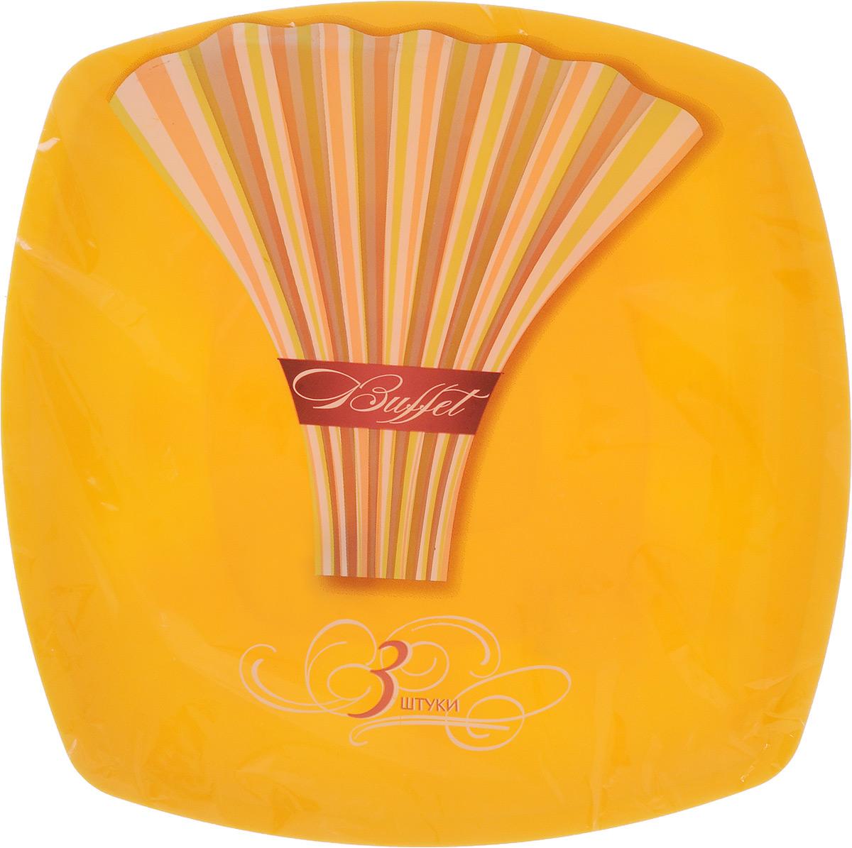 Набор одноразовых тарелок Buffet, цвет: желтый, 30 х 30 см, 3 шт183207_желтыйНабор Buffet состоит из 3 квадратных тарелок, выполненных из полипропилена и предназначенных для одноразового использования. Одноразовые тарелки будут незаменимы при поездках на природу, пикниках и других мероприятиях. Они не займут много места, легки и самое главное - после использования их не надо мыть.Размер тарелки (по верхнему краю): 30 х 30 см.Высота тарелки: 1 см.