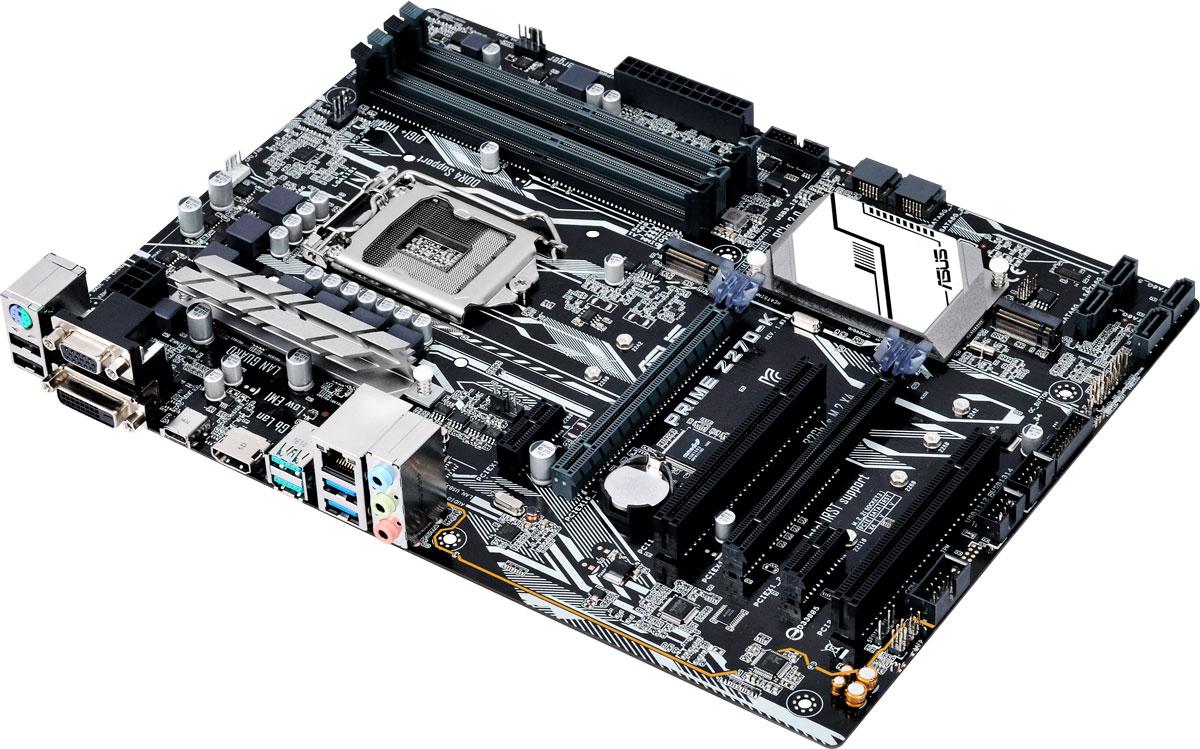 ASUS PRIME Z270-K материнская плата90MB0S30-M0EAY0ASUS PRIME Z270-K - материнская плата формата ATX с процессорным разъемом Intel LGA1151, светодиодной подсветкой и современными интерфейсами.Данная материнская плата оснащена новейшим чипсетом Intel Z270 и совместима с процессорами Intel серий Core i7/Core i5/Core i3/Pentium/Celeron шестого и седьмого поколений, которые устанавливаются в разъем LGA1151. Такие процессоры включают в себя интегрированное графическое ядро, а также контроллеры памяти и шины PCI Express с поддержкой двухканальной DDR4 SDRAM (4 слота DIMM) и 16 линий PCI Express 3.0/2.0.Intel Z270 поддерживает до десяти портов USB 3.0 и шести портов SATA 6 Гбит/с, предлагает интерфейсы M.2 (32 Гбит/с) и PCIe 3.0, а также позволяет использовать графические ядра, встраиваемые в современные процессоры Intel.Prime - это новый этап в развитии материнских плат ASUS, чья родословная начинается с далекого 1989 года. Команда инженеров, создающих модели серии Prime, ставила себе целью сделать их максимально гибкими в персонализации и удобными в настройке, ведь именно это наиболее важно для энтузиастов. С помощью материнских плат Prime увлеченные компьютерами пользователи получают максимальную производительность, безупречную стабильность работы и полный контроль над своей системой.Материнская плата ASUS PRIME Z270 может похвастать долгим сроком службы за счет технологии 5X Protection III, которая охватывает целый ряд инженерных решений, служащих для защиты от электрических перегрузок, коррозии, электростатических разрядов и прочих неприятностей.Технология SafeSlot Core - это особый способ крепления слота PCIe, который обеспечивает большую прочность и устойчивость к деформациям. Усиленные точки пайки вокруг контактов слотов PCIe и DIMM.Разъем проводной сети на материнской плате ASUS PRIME Z270-K оснащается специальной защитой от статического электричества и перепадов напряжения.В системе питания данной материнской платы используются стабилизаторы, обеспечивающие защиту