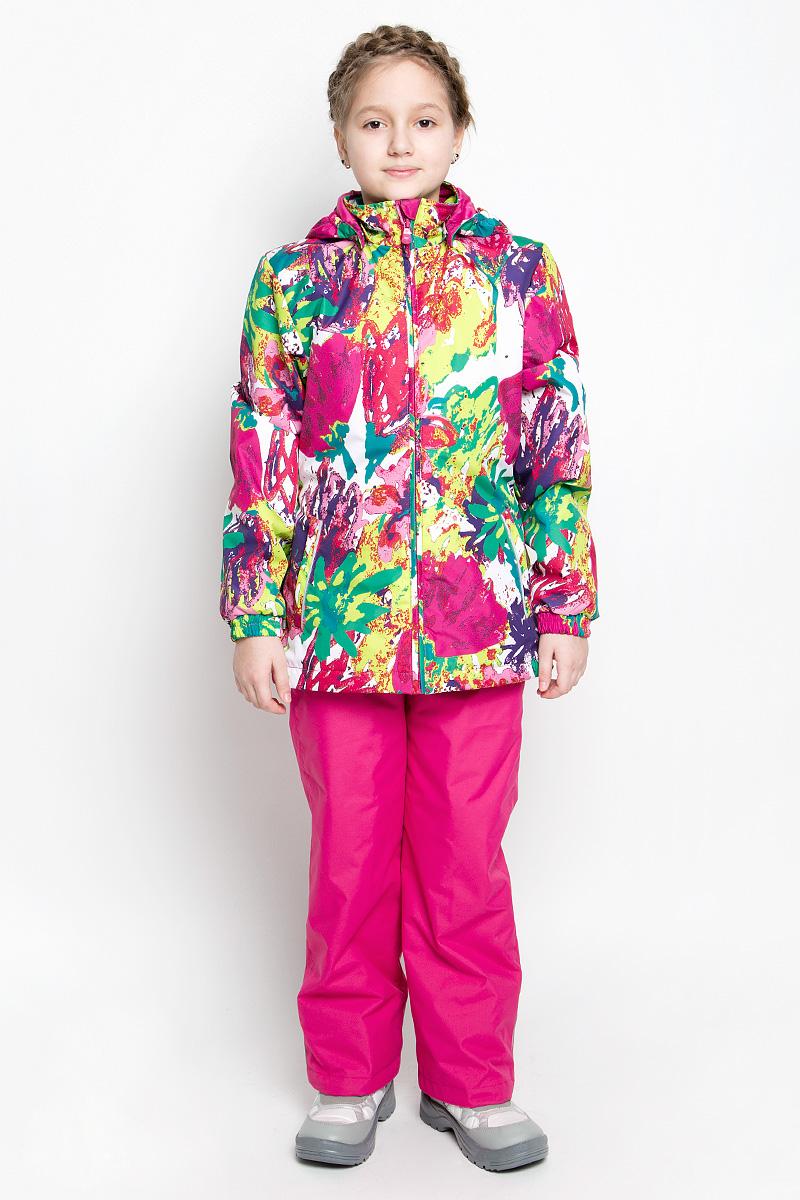 Комплект верхней одежды для девочки Huppa Yonne 1: куртка, брюки, цвет: белый, фуксия. 41260104-71220. Размер 152, 11-13 лет41260104-71220Костюм для девочки Huppa Yonne 1 состоит из куртки и брюк. Костюм выполнен из 100% полиэстера с высокими показателями износостойкости. Ткань с обратной стороны покрыта слоем полиуретана с микропорами (мембрана), который препятствует прохождению влаги и ветра внутрь изделия. Для максимальной влагонепроницаемости швы проклеены водостойкой лентой. Подкладка костюма выполнена из гладкой тафты. Высокотехнологичный легкий синтетический утеплитель имеет уникальную структуру микроволокон, которые не позволяют проникнуть внутрь холодному воздуху, в то же время удерживают теплый между волокнами и обеспечивают высокую теплоизоляцию. Куртка имеет застежку-молнию с защитой подбородка от прищемления, отстегивающийся капюшон, прорезные открытые карманы. Талия, манжеты рукавов и край капюшона снабжены эластичными резинками. Брюки закрываются на застежку-молнию и пуговицу в поясе, эластичные подтяжки регулируемой длины легко снимаются, талия снабжена резинкой для плотного прилегания, низ брючин также регулируется. На изделиях присутствуют светоотражательные элементы для безопасности в темное время суток.