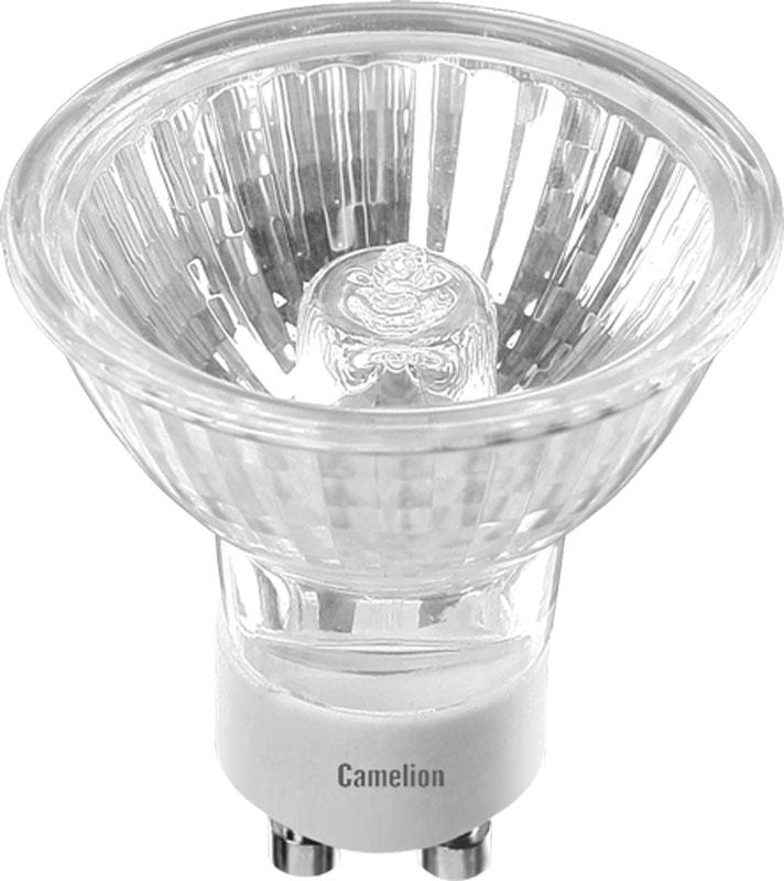"""Галогенная лампа """"Camelion"""" - софитный источник освещения с дихроичным отражателем и защитным стеклом, предназначенный для монтажа в светильник точечного типа. Такая лампа станет прекрасным вариантом для организации локальной подсветки отдельных зон в помещении, декоративных ниш. Диаметр: 50 ммДлина: 52 ммВид: с защитным стеклом Мощность: 50 ВтЦоколь: GU10Световой поток: 308 ЛмСрок службы: 2000 ч Цветовая температура: 3000 К"""