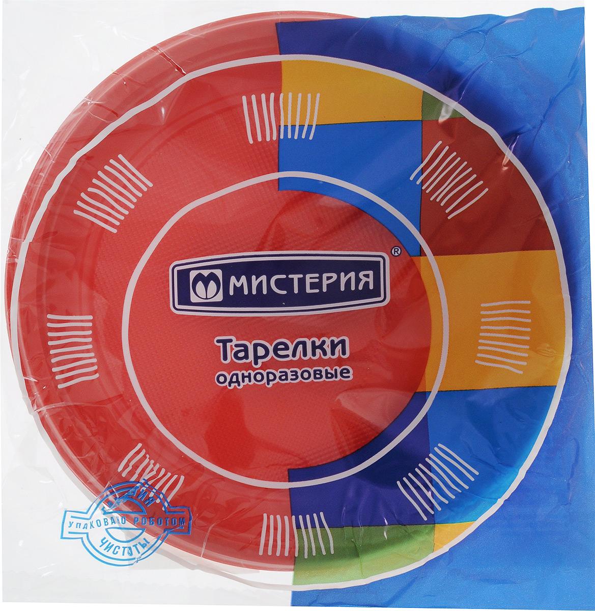 Набор одноразовых десертных тарелок Мистерия, цвет: красный, диаметр 17 см, 12 шт