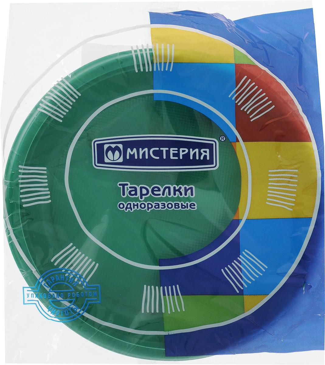 Набор одноразовых десертных тарелок Мистерия, цвет: зеленый, диаметр 17 см, 12 шт тарелка одноразовая мистерия 2 секции диаметр 21 см 12 шт