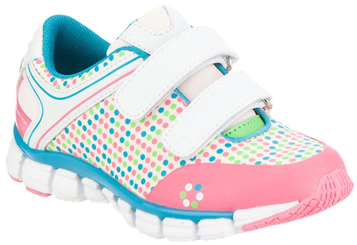 Кроссовки для девочки Kapika, цвет: розовый, белый, голубой. 72219с-2. Размер 3072219с-2Удобные и стильные кроссовки для девочки Kapika прекрасно подойдут вашему ребенку для активного отдыха и повседневной носки. Верх модели выполнен из текстиля и мягкой искусственной кожи. Подкладка из текстиля обеспечивает дополнительный комфорт для детской ножки. Стелька изготовлена из натуральной кожи, благодаря чему обувь дышит, и дарит комфорт при движении. Для удобства обувания и надежной фиксации стопы на подъеме имеются два ремешка на липучках. Модель оформлена стильным принтом и логотипом бренда. Рельефная подошва не скользит и обеспечивает хорошее сцепление с поверхностью. В них ногам вашей непоседы будет комфортно и уютно!