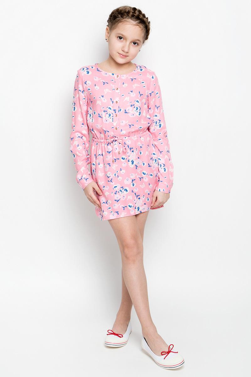 Платье для девочки Sela, цвет: карамельно-розовый. D-617/430-7131. Размер 140D-617/430-7131Нежное платье для девочки Sela изготовлено из качественной вискозы. Модель с круглым вырезом горловины и длинными рукавами застегивается спереди на пять пуговиц. Манжеты на рукавах также имеют застежки-пуговицы. В поясе платье дополнено регулирующим шнурком. Оформлено изделие оригинальным принтом.