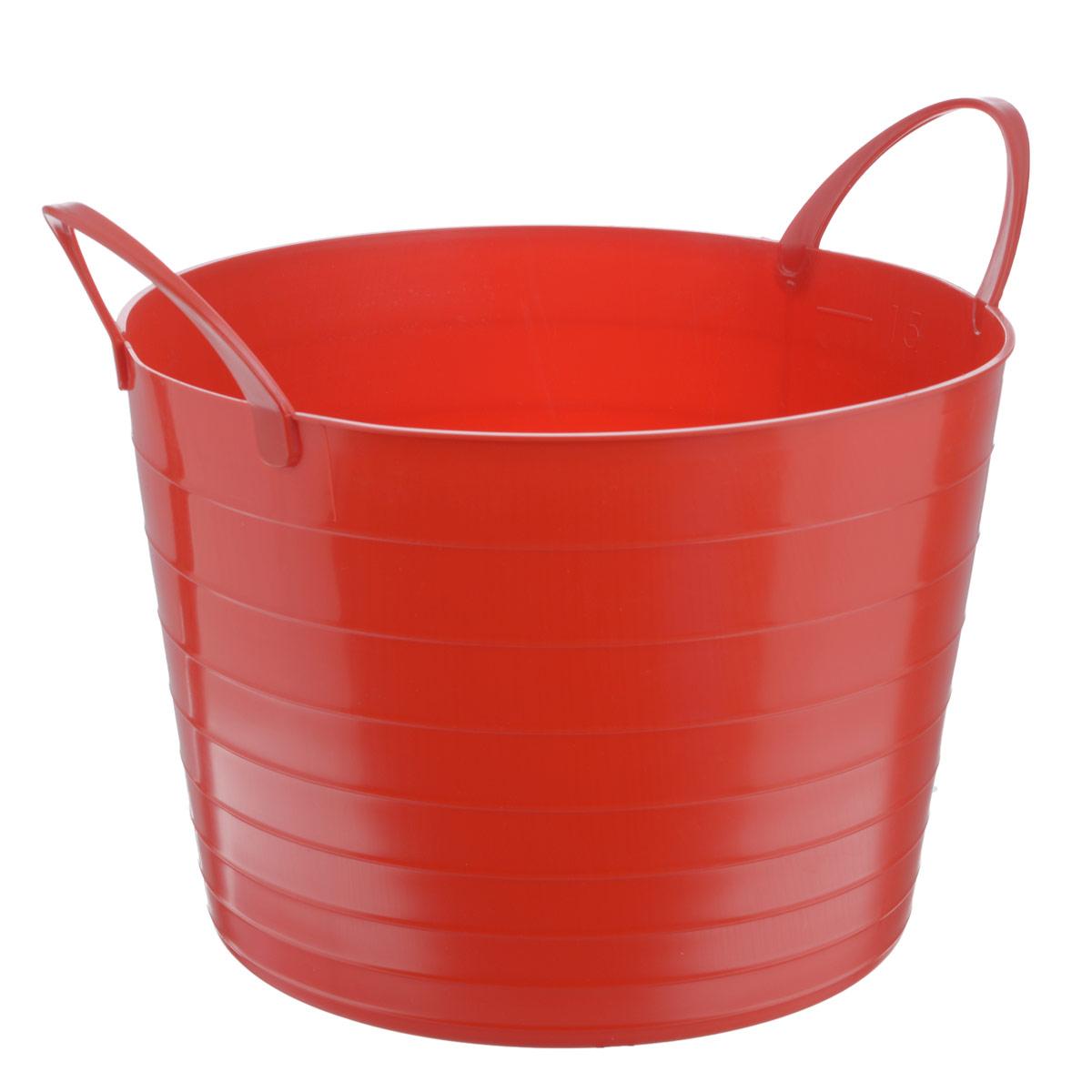 Корзина мягкая Idea, цвет: красный, 17 лМ 2880Мягкая корзина Idea изготовлена из гибкого полиэтилена и оснащена двумя удобными ручками. Внутренняя поверхность имеет отметки литража. Такой корзинке можно найти множество применений в быту: для строительства, для сбора фруктов, овощей и грибов, для хранения бытовых предметов и многого другого. Такая корзина пригодится в любом хозяйстве.Размер (без учета ручек): 33,5 х 33,5 х 24 см.
