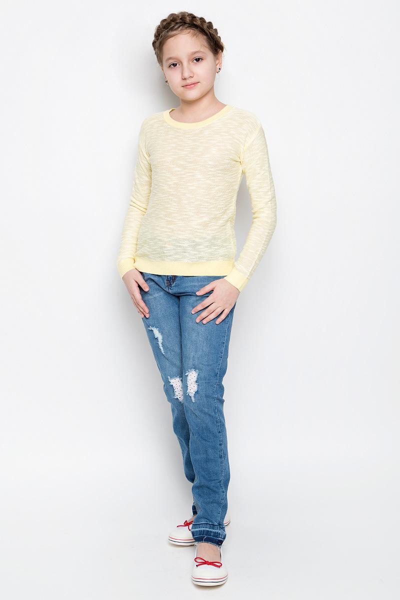 Джемпер для девочки Sela, цвет: светло-желтый. JR-614/892-7141. Размер 128, 8 летJR-614/892-7141Удобный джемпер Sela для девочки выполнен из натуральных качественных материалов. Модель с круглым вырезом горловины и длинными рукавами оформлен в лаконичном дизайне. Воротник, манжеты на рукавах и низ изделия связаны трикотажной резинкой.