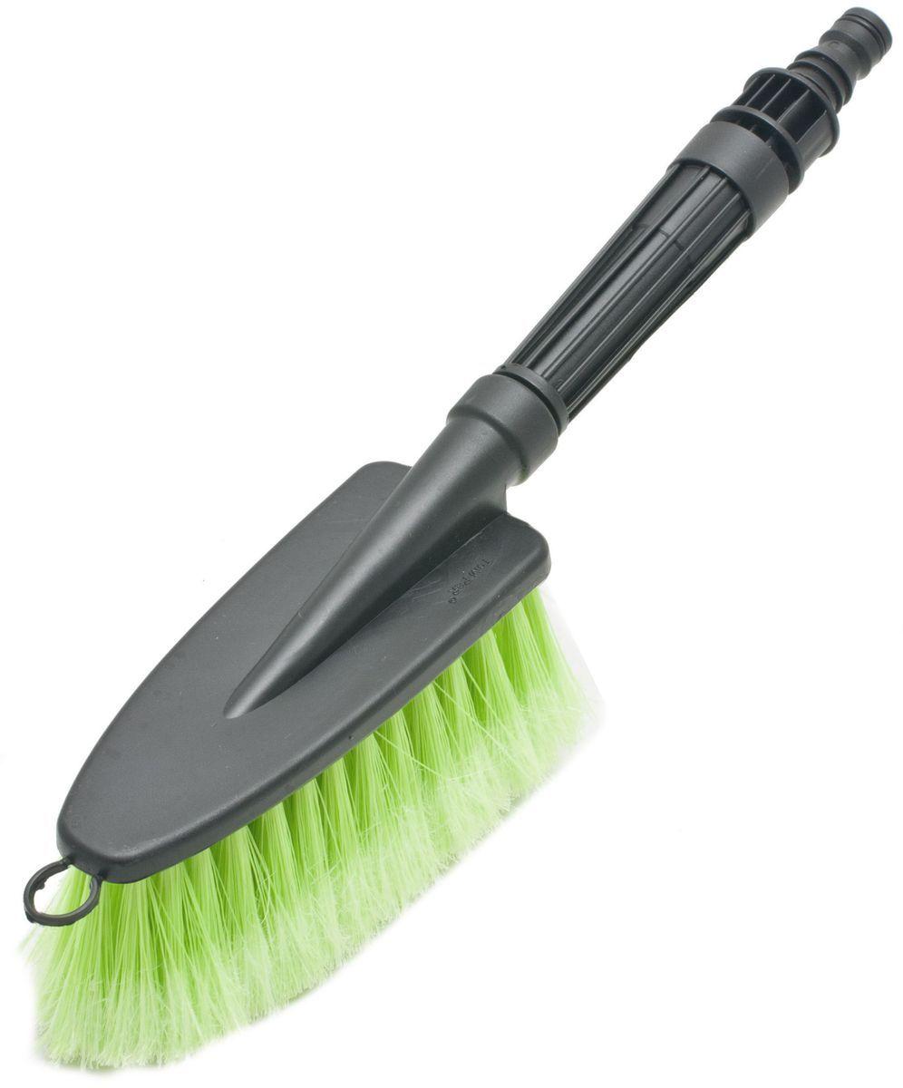 Щетка для мытья под шланг Главдор GL-583, с двойным клапаном, цвет: зеленыйGL-583Щетка для мытья с мягкой, распушенной щетиной, изготовлена из прочного пластика. Снабжена адаптером (насадкой) для подключения к шлангу и двойным клапаном.