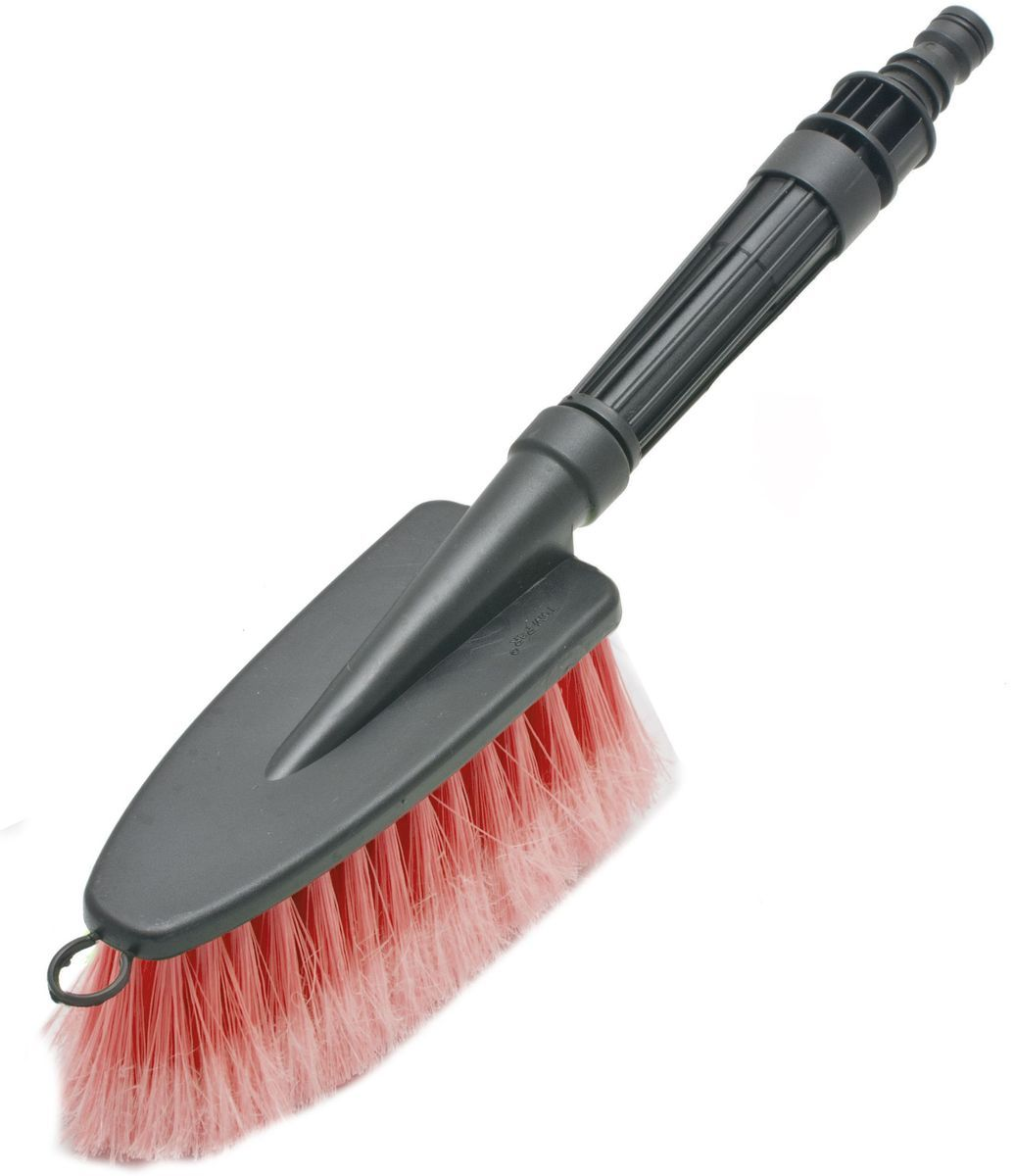 Щетка для мытья под шланг Главдор GL-584, с двойным клапаном, цвет: красный