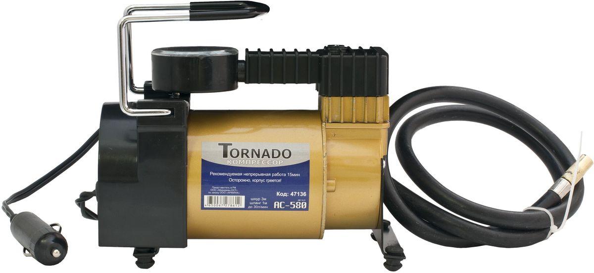 Автомобильный компрессор Tornado AC-580, металлический корпус, 30 л/мин, 12В, 14AAC-580Автомобильный компрессор Tornado AC-580 предназначен для подкачки колес, в том числе накачивания спортинвентаря не большого размера:мячи, матрасы, компактные лодки. В комплект входят переходники для накачивания спортинветаря, сумка для транспортировки.Скорость накачивания: 30л/минМаксимальное давление: 10 АтмПитание:12 VДлина пневмошланга: 1 мДлина шнура питания: 3 м.