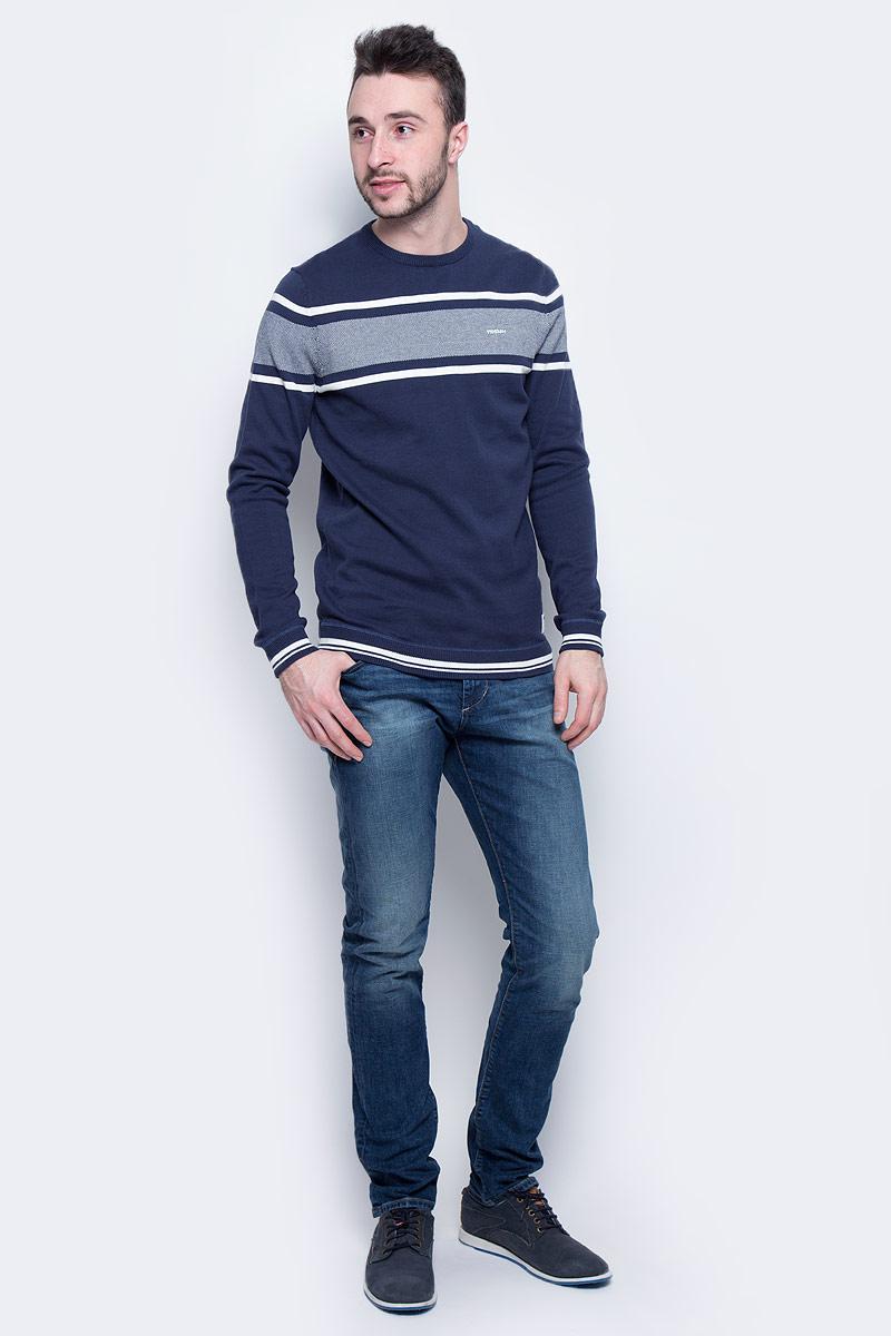 Джемпер мужской Tom Tailor Denim, цвет: темно-синий. 3022585.01.12_6740. Размер S (46) блузка женская tom tailor denim цвет белый темно синий 2032916 09 71 8005 размер m 46