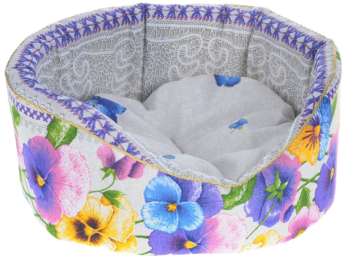 Лежак для животных Родные места Премиум №1. Анютины глазки, 42 x 35 x 16 см