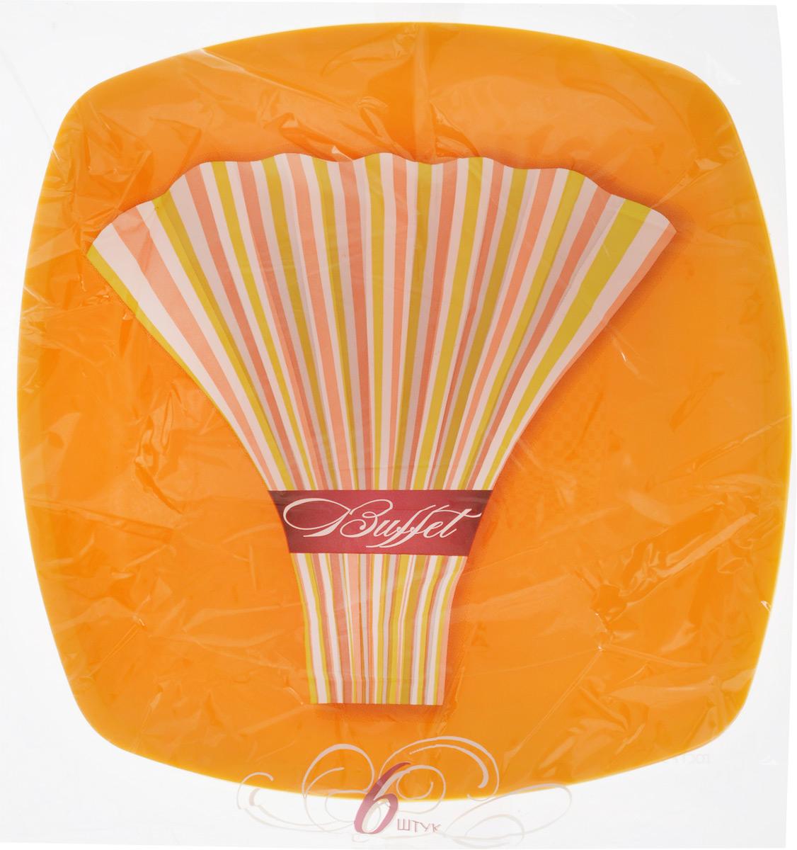 Набор одноразовых тарелок Buffet, цвет: желтый, 23 х 23 см, 6 шт набор одноразовых стаканов buffet biсolor цвет оранжевый желтый 200 мл 6 шт