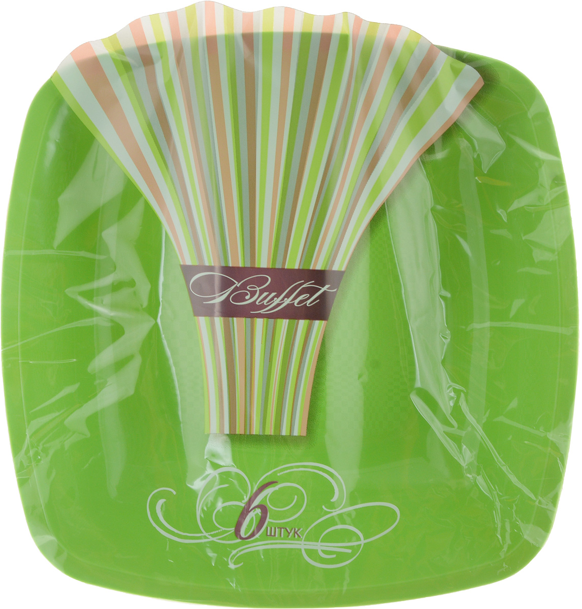 Набор одноразовых глубоких тарелок Buffet, цвет: зеленый, 18 х 18 см, 6 шт набор одноразовых стаканов buffet biсolor цвет оранжевый желтый 200 мл 6 шт